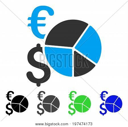 Financial Pie Chart flat vector illustration. Colored financial pie chart gray, black, blue, green icon versions. Flat icon style for web design.