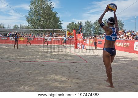 Vienna - July 29 2017: woman players Kolocova and Kvapilova from team Czech Republic win in two sets to one against players Radarong and Udomchavee from team Thailand at the Beach Volleyball Worldchampionships 2017 on the Vienna Donauinsel