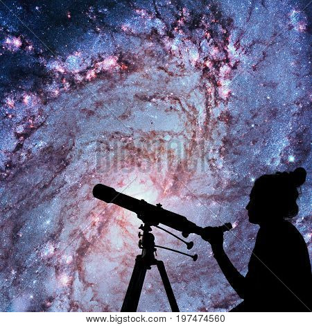 Girl Looking At The Stars With Telescope. Messier 83, Southern Pinwheel Galaxy, M83 In The Constella