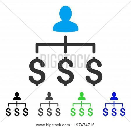 Money Collector flat vector pictogram. Colored money collector gray, black, blue, green pictogram variants. Flat icon style for graphic design.