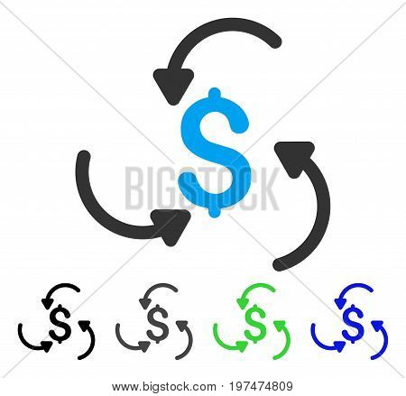 Money Swirl flat vector pictograph. Colored money swirl gray, black, blue, green icon versions. Flat icon style for web design.