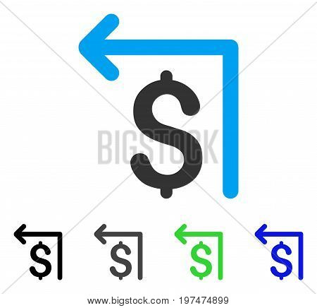 Moneyback flat vector pictograph. Colored moneyback gray, black, blue, green icon variants. Flat icon style for application design.