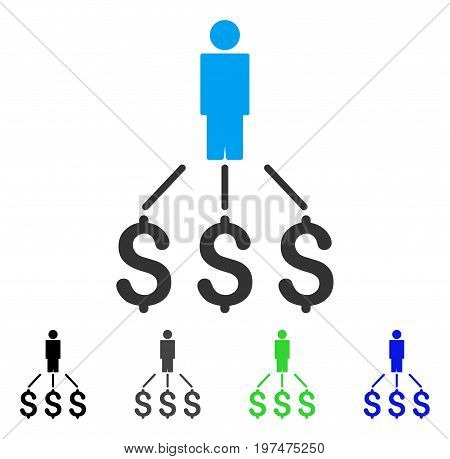 Person Expenses flat vector pictogram. Colored person expenses gray, black, blue, green pictogram versions. Flat icon style for web design.