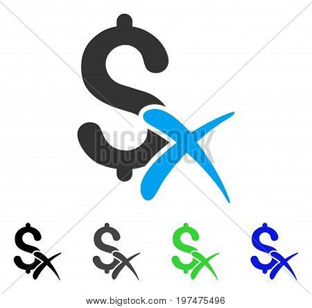 Reject Money flat vector pictogram. Colored reject money gray, black, blue, green icon versions. Flat icon style for graphic design.
