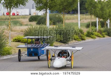 Chartres France - 25 June 2017: Solar powered vehicles racing during the 4th edition of Solar Cup. This is a special race for solar powered vehicles and bicycles held each summer in Chartres France.