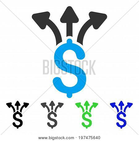 Share Money flat vector pictograph. Colored share money gray, black, blue, green pictogram variants. Flat icon style for application design.