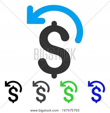 Undo Payment flat vector pictograph. Colored undo payment gray, black, blue, green icon versions. Flat icon style for graphic design.
