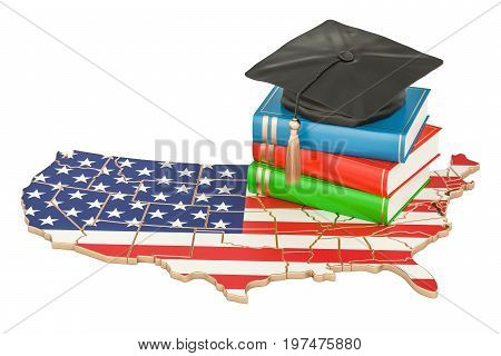 Education in USA concept 3D rendering isolated on white background