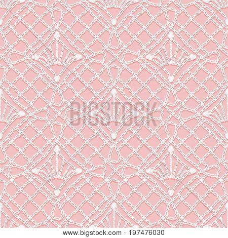 Seamless pattern of Knitted lace. White hinges and threads of ornament on a pink background. Vector illustration