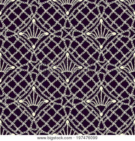 Seamless texture of lace fabric handwoven crochet. Light pattern on a dark background. Stylization. Vector illustration