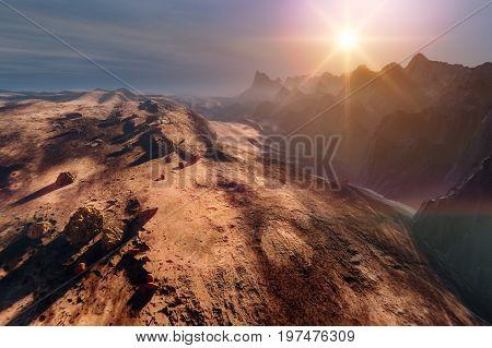 Sunset mountains, Martian desert landscape, 3d illustration