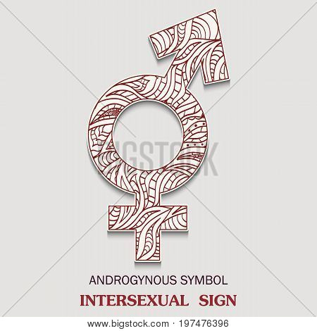 Symbol of Intersexual is a androgynous sexuality sign with a pattern in tribal Indian style. Vector illustration