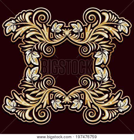 Gold frame of leaves on a dark background. Vector illustration