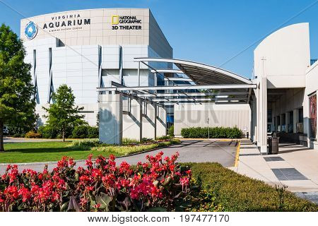 VIRGINIA BEACH, VIRGINIA - JULY 13, 2017:  The Virginia Aquarium & Marine Science Center, an aquarium and marine science museum, which also houses an theater.
