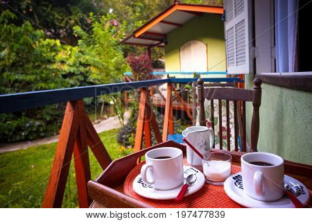 Morning Coffee In A Tropical Bungalow