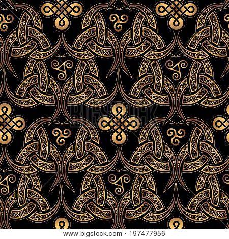 Scandinavian Celtic seamless wallpaper . Elegant golden ethnic patterns of druids on a black background