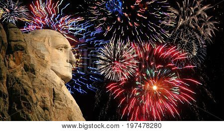 George Washington , Mt Rushmore fireworks display