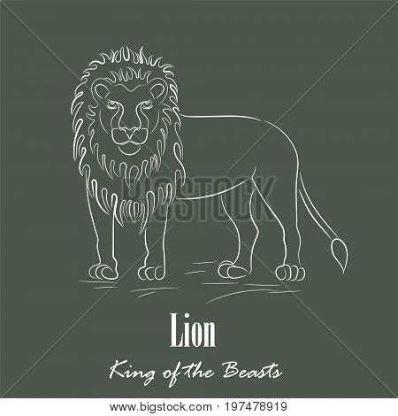 White Lion Silhouette Hand Drawing Digitally on the Green Gray Background with the Heading Below. Line Art Vector