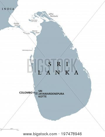 Sri Lanka political map with capitals Sri Jayawardenepura Kotte and Colombo. English labeling. Democratic Socialist Republic. Former Ceylon. Island country in South Asia. Gray illustration. Vector.