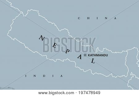 Nepal political map with capital Kathmandu. English labeling. Federal democratic republic and landlocked central Himalayan country in South Asia bordering China and India. Gray illustration. Vector.