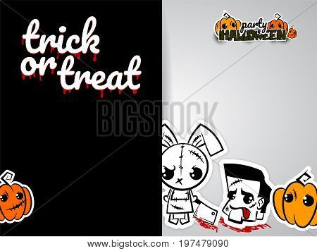 Halloween evil bunny rabbit knife cartoon funny monster. Pop art wow comic book text poster party. Ugly angry thread needle sewing voodoo doll. Vector illustration paper sticker. Trick or treat.