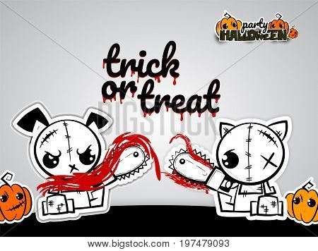 Halloween evil dog cat blood saw cartoon funny monster. Pop art wow comic book text poster party. Ugly angry monochrome thread needle sewing voodoo doll. Vector illustration sticker paper.