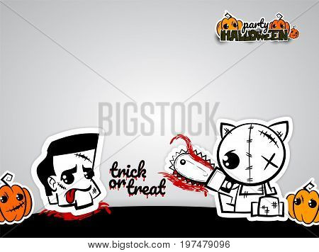 Halloween evil cat blood saw zombie head cartoon funny monster. Pop art wow comic book text poster party. Ugly angry monochrome thread needle sewing voodoo doll. Vector illustration sticker paper.