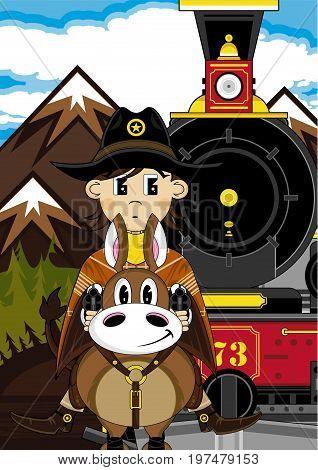 Horse & Cowboy Train Scene