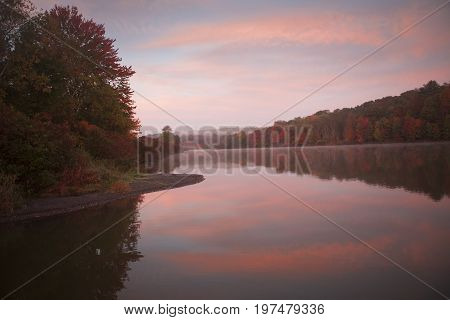 Colorful Sunrise over Frances Slocum Lake from Carverton Road Kingston Township PA