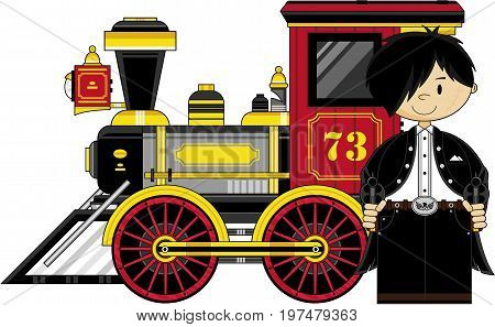 Cute Outlaw Cowboy & Train.eps