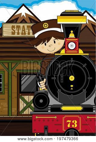 Cute Cowboy At Station