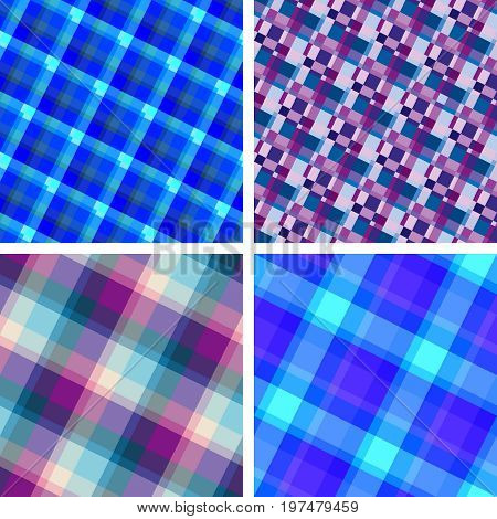 Collection of blue violet seamless plaid patterns