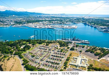 Aerial view of Pearl Harbor in Hawaii