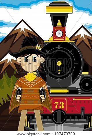 Cute Cowboy And Train.eps