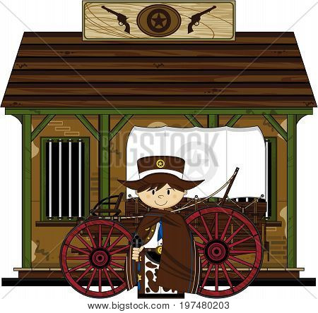 Cowboy With Wagon & Jail.eps