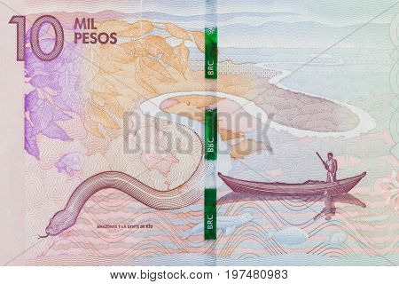 Amazon River on the ten thousand Colombian pesos bill