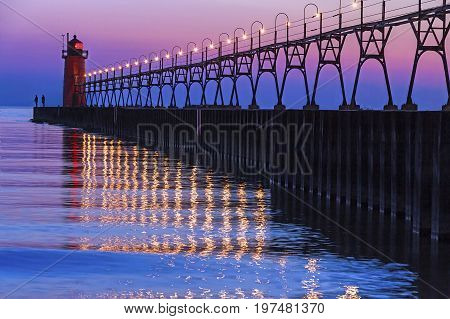 The South Pierhead Light in South Haven Michigan after Sundown