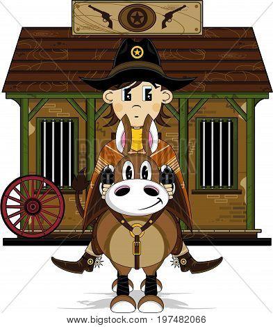Cowboy On Horse & Jail.eps