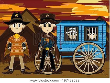 Cute Cartoon Wild West Cowboys and Jail Wagon