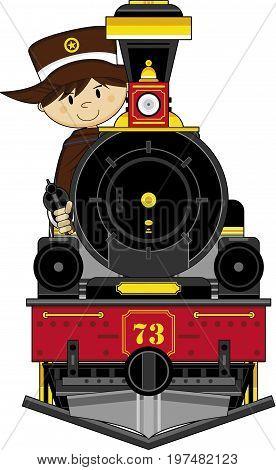 Cowboy Lawman On Train.eps