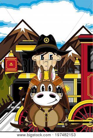 Cowboy Horse & Train