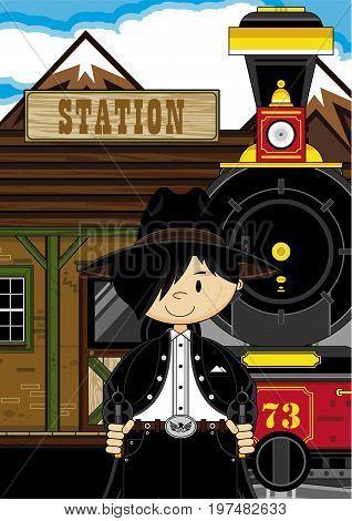 Cowboy At Train Station