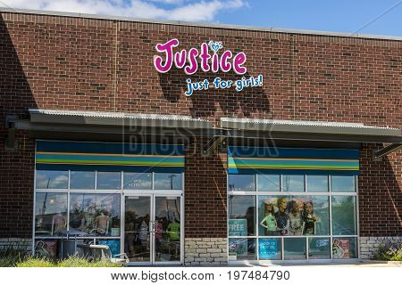 Indianapolis - Circa July 2017: Justice Just for Girls! Retail Strip Mall Location. Justice branded clothing stores are owned by Ascena Retail Group (ASNA) II