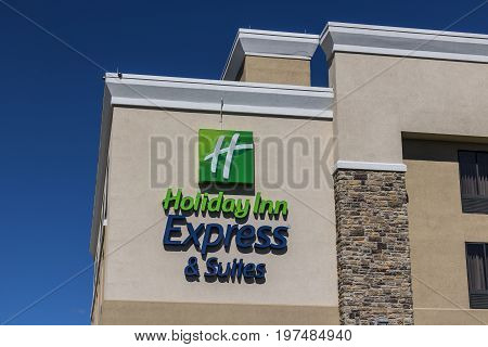Indianapolis - Circa July 2017: Holiday Inn Express Location. Holiday Inn is a Subsidiary of InterContinental Hotels Group VII