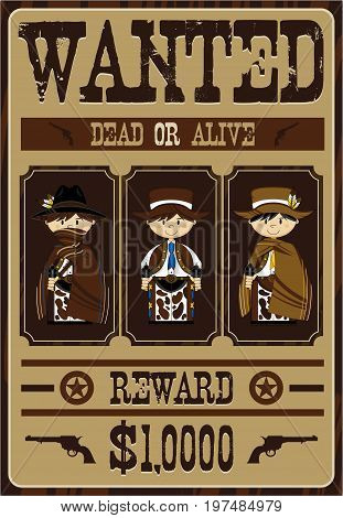 3 Wanted Cowboys Poster.eps