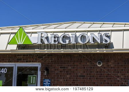 Indianapolis - Circa July 2017: Regions Financial Corporation. Regions is the only member of the Fortune 500 headquartered in Alabama VII