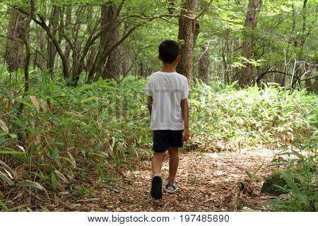 Japanese Boy On A Hike (second Grade At Elementary School)
