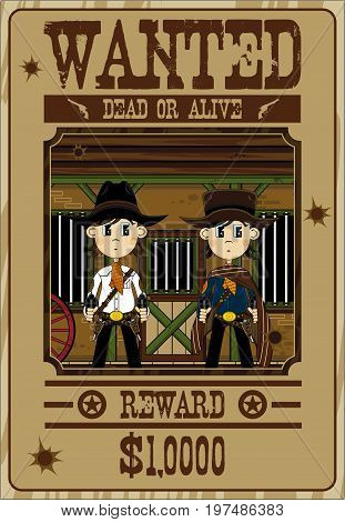 Cute Cowboys Wanted Poster
