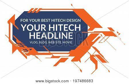 Hitech orange elements rectangle form isolated on white background