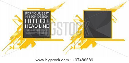 Hi-tech yellow elements with polygonal texture on white background